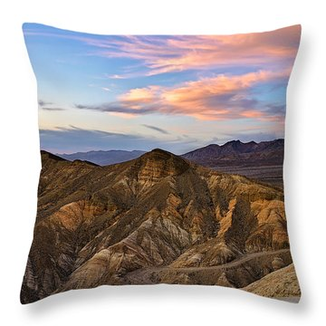 Zabriskie Point Sunset Throw Pillow
