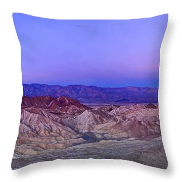 Zabriskie Sunrise Panorama - Death Valley National Park. Throw Pillow