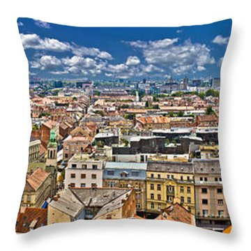 Zagreb Lower Town Colorful Panoramic View Throw Pillow by Brch Photography