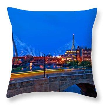 Zakim Bridge At Twilight Throw Pillow by Joann Vitali