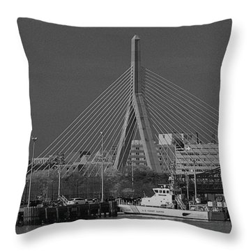 Throw Pillow featuring the photograph Zakim Bridge In Bw by Caroline Stella