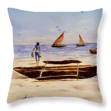Throw Pillow featuring the painting Zanzibar Forzani Beach by Sher Nasser