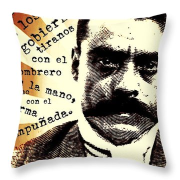 Throw Pillow featuring the mixed media Zapatismo by Michelle Dallocchio