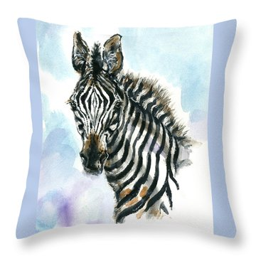 Throw Pillow featuring the painting Zebra 1 by Mary Armstrong
