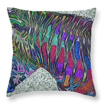 Zebra 2- Happened At The Zoo  Throw Pillow by Jack Zulli