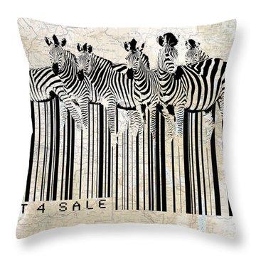 Zebra Barcode Throw Pillow by Sassan Filsoof