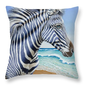 Zebra By The Sea Throw Pillow