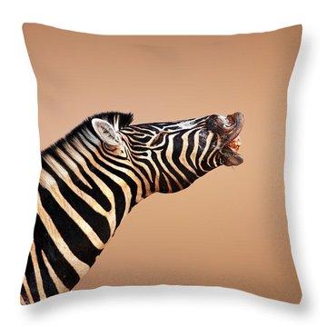 Zebra Calling Throw Pillow by Johan Swanepoel
