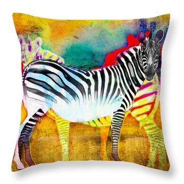 Zebra Colors Of Africa Throw Pillow by Barbara Chichester