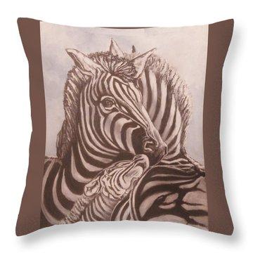 Zebra Family Throw Pillow
