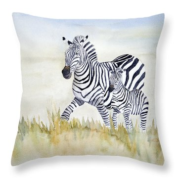 Zebra Family Throw Pillow