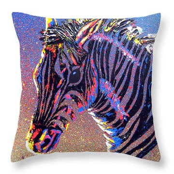 Zebra Fantasy Throw Pillow by Mayhem Mediums