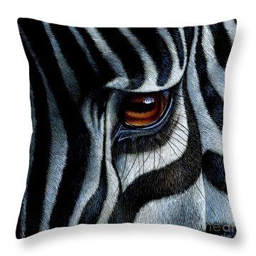 Zebra Throw Pillow by Jurek Zamoyski