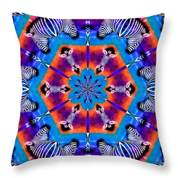 Zebra Kaleidoscope Throw Pillow
