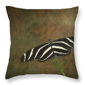 Zebra Longwing  Butterfly-1 Throw Pillow