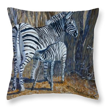 Zebra Mother And Foal Throw Pillow by Caroline Street