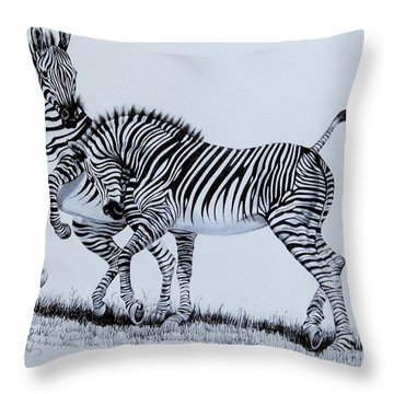 Zebra Play Throw Pillow by Cheryl Poland