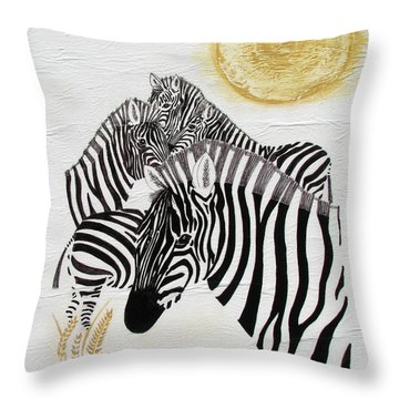 Zebra Quintet Throw Pillow