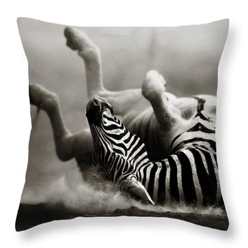 Zebra Rolling Throw Pillow by Johan Swanepoel