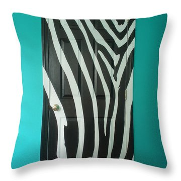 Zebra Stripe Mural - Door Number 1 Throw Pillow by Sean Connolly
