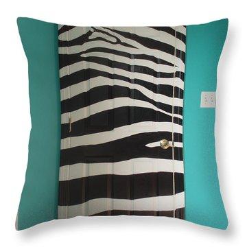 Zebra Stripe Mural - Door Number 2 Throw Pillow by Sean Connolly