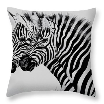Zebra Twins Throw Pillow by Cheryl Poland