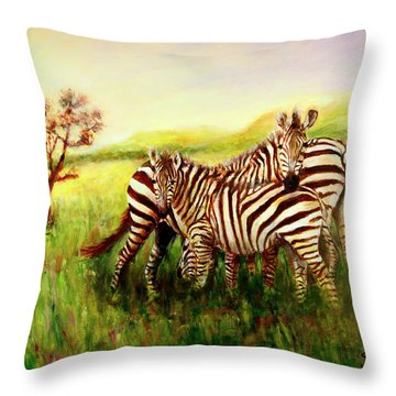 Throw Pillow featuring the painting Zebras At Ngorongoro Crater by Sher Nasser