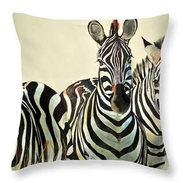 Throw Pillow featuring the drawing Zebras Drawing by Maja Sokolowska