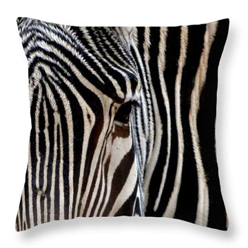 Throw Pillow featuring the photograph Zebras Face To Face by Nadalyn Larsen