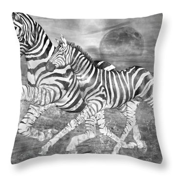 Zebras I Of II Throw Pillow