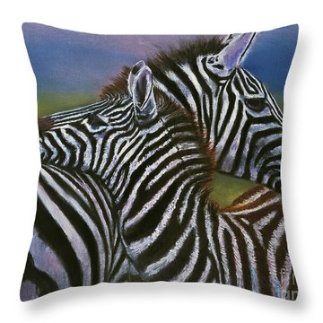 Zebras In Love Giclee Print Throw Pillow
