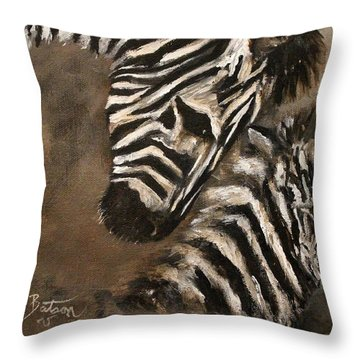 Throw Pillow featuring the painting Zebras Love From Above by Barbie Batson