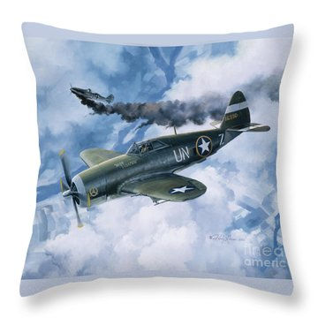 Zemke's Thunder Throw Pillow by Randy Green