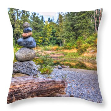 Throw Pillow featuring the photograph Zen Balanced Stones On A Tree by Eti Reid