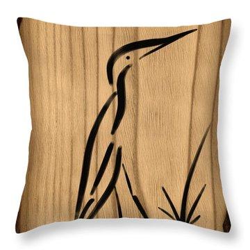 Zen Egret Throw Pillow by Frank Bright