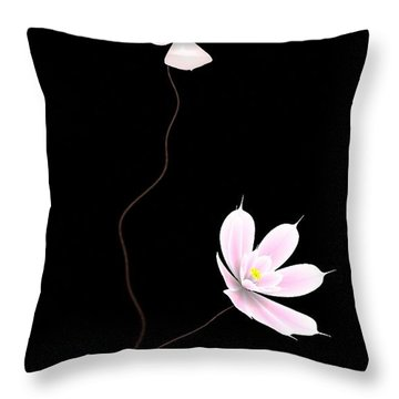 Zen Flower Twins With A Black Background Throw Pillow