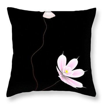 Zen Flower Twins With A Black Background Throw Pillow by GuoJun Pan