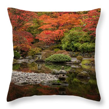 Zen Foliage Colors Throw Pillow by Mike Reid