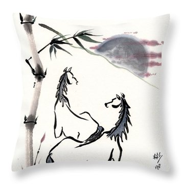Throw Pillow featuring the painting Zen Horses Evolution Of Consciousness by Bill Searle