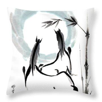Zen Horses Into The Vortex Throw Pillow