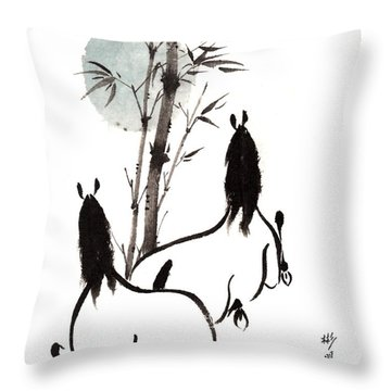 Throw Pillow featuring the painting Zen Horses Moon Reverence by Bill Searle