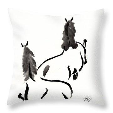 Zen Horses Retired Throw Pillow