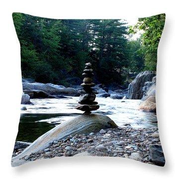 Zen Rock Tower Throw Pillow