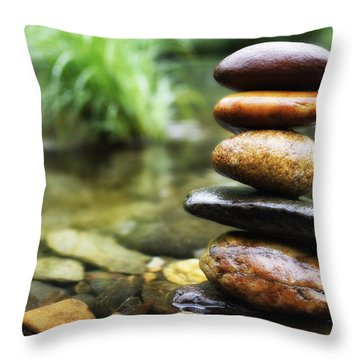 Zen Stones Throw Pillow