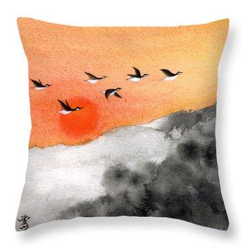 Zen Sunset Throw Pillow