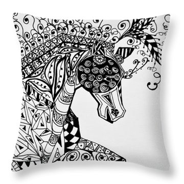 Throw Pillow featuring the drawing Zentangle Circus Horse by Jani Freimann