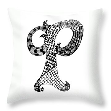 Letter P Monogram In Black And White Throw Pillow by Nan Wright
