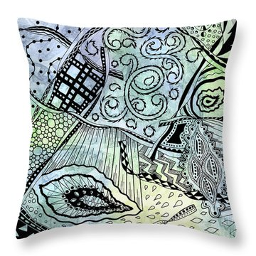 Zentangle Ribbons Throw Pillow by Kristen Fox
