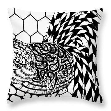 Throw Pillow featuring the drawing Zentangle Rooster by Jani Freimann