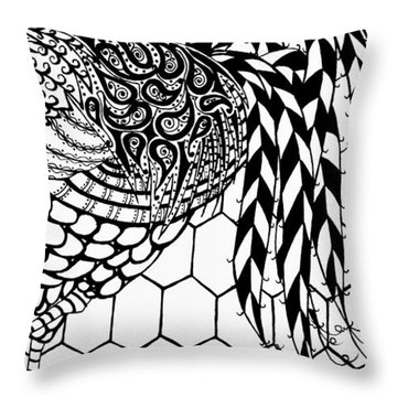 Zentangle Rooster Throw Pillow by Jani Freimann